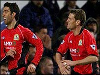 Blackburn's Hakan Sukur and Craig Short