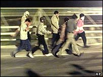 Asylum seekers near the Channel Tunnel