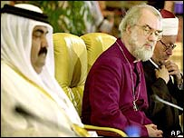 The Emir of Qatar, Sheikh Hamad bin Khalifa Al Thani, (left), and the Archbishop of Canterbury