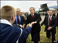 President Bush arriving at RAF Aldergrove, Northern Ireland