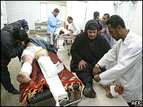 Wounded people being treated at al-Kindi hospital, Baghdad