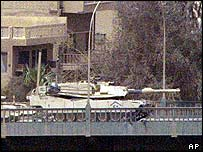 US tanks stationed on a bridge in central Baghdad