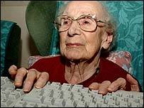 Pensioner using computer, PA