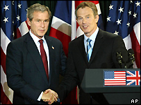George Bush and Tony Blair at Hillsborough Castle