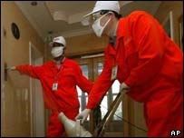 Chinese health workers disinfect a corridor
