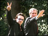 Bono with President Bush in 2002