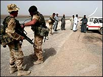 British checkpoint in southern Iraq