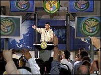 US Brigadier General Vincent Brooks gives another briefing in Qatar