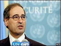 Syrian deputy Ambassador to the UN Fayssal Mekdad explains his absence at the vote