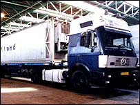 A lorry in which dead asylum seekers were found