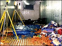 The inside of a lorry in which asylum seekers died