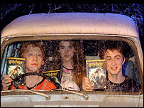(L to r): Rupert Grint, Emma Watson and Daniel Radcliffe