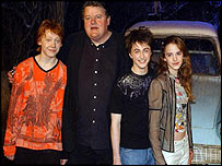(L to r): Rupert Grint, Robbie Coltrane, Daniel Radcliffe and Emma Watson