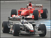 David Coulthard leads Rubens Barrichello in the Brazilian Grand Prix