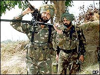 Indian soldiers in Indian-administered Kashmir
