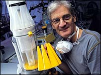 James Dyson with his Dual Cyclone cleaner