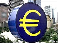 Euro logo at ECB