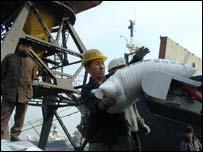 Unloading aid in North Korea