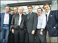 F1's car company bosses (left to right): Wolfgang Reitzle (Jaguar), Burkhard Goetschel (BMW), Jurgen Hubbert (Mercedes), Paolo Cantarella (Fiat), Patrick Faure (Renault), Luca Montezemolo  (Ferrari)