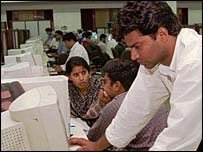 Software programmers at work at Planet Asia, an Indian software company, in Bangalore, India