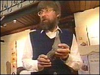 Dr Ed Jarzembowski with fossil spike