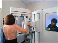 Woman being scanned for breast cancer
