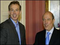 British Prime Minister Tony Blair and Greek Prime Minister Costas Simitis. Archive picture