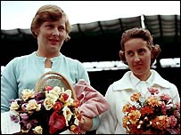 Christine Truman and Angela Mortimer before the last all-British final in 1961