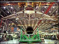 A Boeing 767 under construction