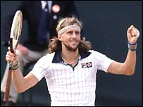 Bjorn Borg celebrates victory at Wimbledon