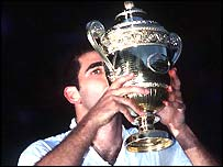 Pete Sampras savours his seventh triumph