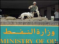 A US soldier outside the Oil Ministry in Baghdad