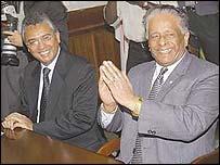 Pravind Jugnauth (left) and Sir Anerood Jugnauth (right)