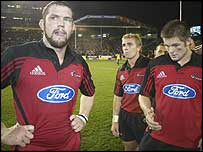 Crusaders captain Reuben Thorne (left), Justin Marshall and Richie McCaw