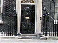 Snow falls on Downing Street