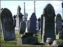 Damaged gravestones