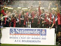 Bournemouth celebrate receiving the Division Three play-off trophy