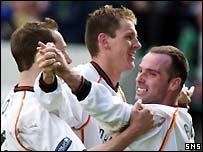Alex Burns celebrates his winning goal