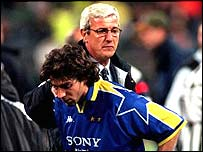 Juventus striker Alessandro Del Piero and manager Marcelo Lippi