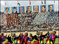 The opening ceremony of the 1999 games in Kathmandu's Dashrath stadium