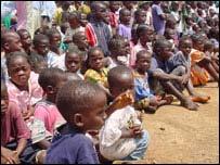 Displaced Liberian children in a school camp