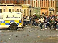Rioting in West Belfast