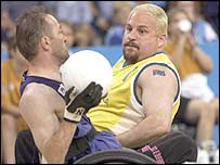 Switzerland (left) take on Australia at wheelchair rugby