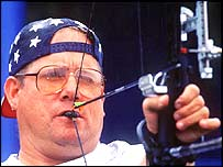 American Larry Townes in action during the Men's Individual Archery at the 2000 Paralympics