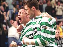 Alan Thompson and Chris Sutton celebrate at Rugby Park