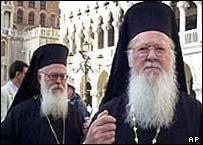 Patriarch Bartholomew (right)