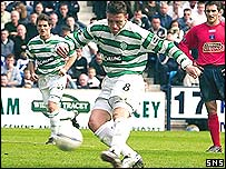 Alan Thompson sends his crucial second penalty kick over the bar