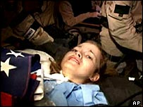 Private Jessica Lynch after her rescue by US Special Forces