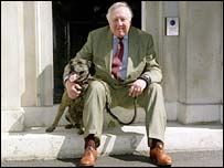 Roy Hattersley (r) and Buster the dog