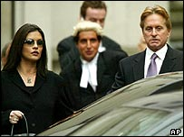 Catherine Zeta Jones and Michael Douglas outside the High Court